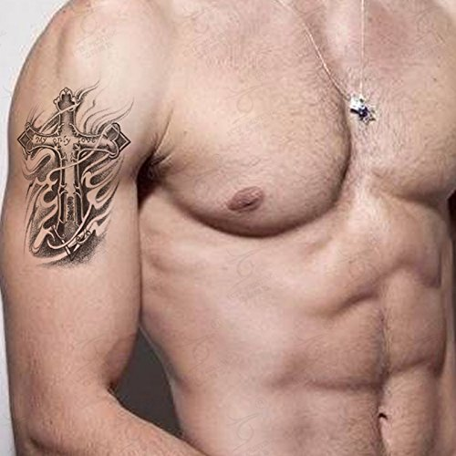 Kotbs 2 Sheets Pack Temporary Tattoo Sticker for Men Waterproof Arm Leg Body Art Fake Tattoos Cross Designs - My Only Love