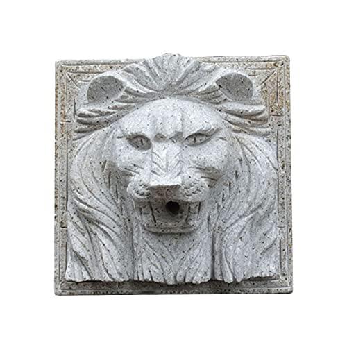 LUCKFY Fuente de Cabeza de león - Busto de Arte de la Pared del león - Decoración de la Pared de la Pared de Tallado de Piedra Creativa con Detalle intrincado para Uso Exterior o en Interiores