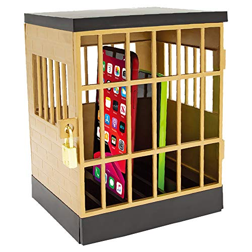 Sturdy Cell Block Cell Phone Jail with Lock and Keys,Smartphone Stand Holders Classroom Home Table Office Storage Gadget -Family Time, Party Fun Novelty Gift Idea