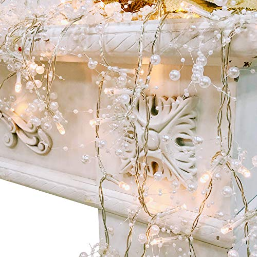 TURNMEON 10FT 30LED Christmas String Lights Battery Powered for Christmas Decorations, Christmas Garland for Fireplace Mantel Indoor Outdoor Christmas Decoration, Christmas Warm White Lights (Silver)