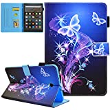 Galaxy Tab A 10.1 Case 2016 Old Model, T580 Case(Not fit T500 2020),JZCreater Folio Stand Wallet Case, Auto Sleep/Wake Cover for Galaxy Tab A 10.1' SM-T580/ T585, Purple Butterfly