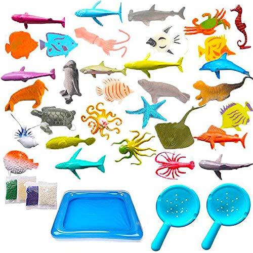 BESTZY 40pcs Animales de Juguete Mini Figuras Marinos Plástico Fauna Submarina Realista para Jugar en el Baño Fiesta Educativa Mar