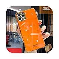 Hully ラインストーンスパークリング電気メッキ電話ケースiPhone12 mini 12 11 Pro Max XR X XS Max 7 8 P Cover for HUAWEI P30 Mate30-Only case Orange-For iphone 7