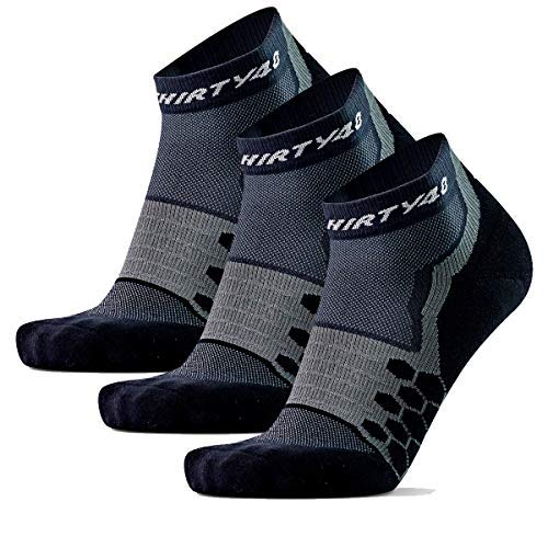 Thirty48 Performance Compression Low Cut Running Socks for Men and Women | More Compression Where Needed ([3 Pair] Black/Gray, XLarge - Women 11-13 // Men 12-14)