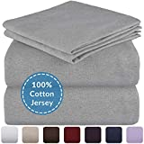 Mellanni King Jersey Sheet Set - 4 pc Luxury Heather 100% Cotton Bed Sheets - Soft, Comfortable, All Season Bedding - Deep Pocket - T-Shirt Sheets (King, Light Gray Heather)