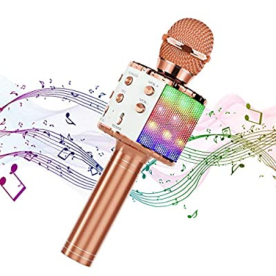 Hiloshine Wireless Microphone Karaoke, 4 in 1 Portable Karaoke Bluetooth Microphone with Dancing LED Lights Karaoke Machine Speaker for Party Kids Gift, Compatible with Android iOS Devices (Rose Gold)