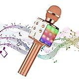 Hiloshine Microfono Karaoke Wireless, 4 in 1 Portatile Karaoke Microfono Bluetooth Karaoke Player con Altoparlante per Bambini, Compatibile con Android/iOS, PC e Smartphone (Oro Rosa)