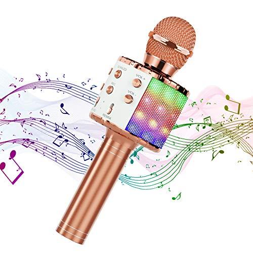 Hiloshine Microfono Karaoke Wireless, 4 in 1 Portatile Karaoke Microfono Bluetooth Karaoke Player con Altoparlante per Bambini, Compatibile con Android iOS, PC e Smartphone (Oro Rosa)