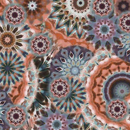 Qualitativ hochwertiger Viskosejersey, Mandala Musterung in Rost, Lila, Braun als Meterware zum Nähen von Erwachsenen, Kinder und Baby Kleidung, 50 cm