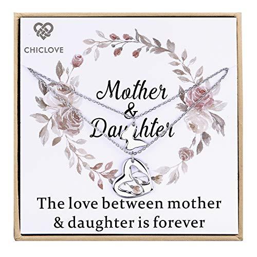 Mutter Tochter Set für zwei, Ausschnitt Herz Ketten, 2 Sterling Silber Halsketten Mother 's Day Geschenk (C - mutter tochter kette)
