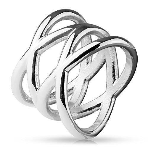 Paula & Fritz® Double X 16mm breit Damen-Ring Verlobungs-Ring Freundschaftsring Herrenring Partnerring Edelstahl Chirurgenstahl 316L Silber 57 (18)