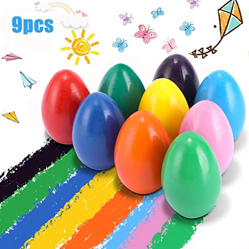 Crayons for Toddlers,Washable crayon bulk bath YGBrand Palm Grip Crayons Set 9 Colors Non Toxic Crayons Washable Paint Egg Crayon Toys for Kids, Baby, Children, Boys and Girls