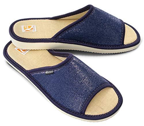 Bosaco Zapatillas De Casa Mujer Pantuflas (39, Navy 1)