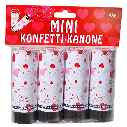 Udo Schmidt GmbH Mini-Konfetti Kanonen Love 4-teilig Geburtstag Dekoration Party Tischdeko Konfetti