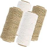 com-four 4 Piezas Juego con Banda de Yute y cordón de algodón - Cordón de Yute para Embalaje y decoración - Cordón como Cadena de Paquete...