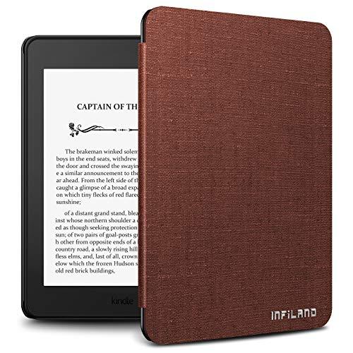 INFILAND Custodia per Kindle Paperwhite 2018, Ultra Sottile Leggera in Pelle Cover Custodia per Amazon Kindle Paperwhite 2018 Version(con Auto Sonno/Veglia Funzione),Vino Rosso