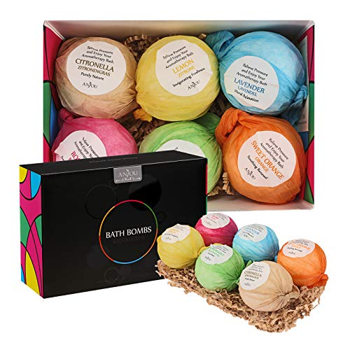 Anjou Bath Bombs Gift Set, 6 x 3.5 oz Colorless Bath Bombs Kit, Best for Aromatherapy, Relaxation, Moisturizing with Organic...