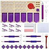 HUIHU 5D Accesorios para Herramientas de Pintura de Diamantes Soporte Organizador de Bandeja de Madera para Barcos múltiples para Taladro y Almacenamiento de Arcilla y Diamantes-Big Purple-Kit4