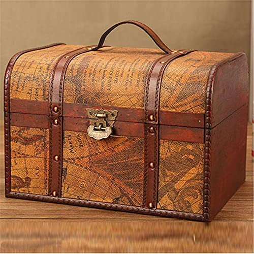 Ramingt Caja portaobjetos de madera agriturismo hecha a mano de madera maciza vintage con tapa | Cajas de almacenamiento de madera para guardar