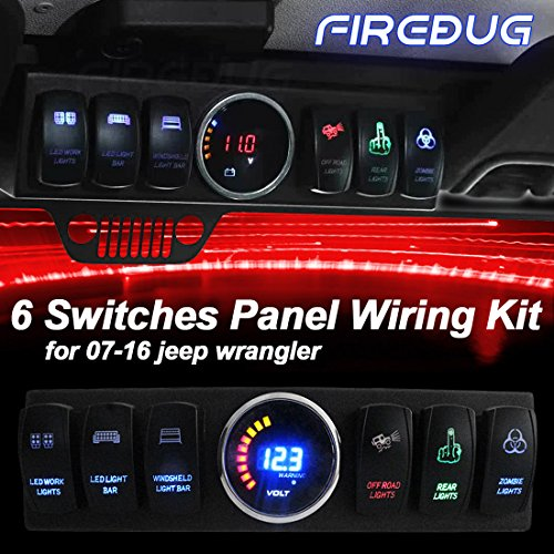 WATERWICH 6 Toggle Switch Panel Pod Overhead and Source Control System Box Wiring Harness Kit with 12 Switch Covers /& a Switch Clip Remover For Jeep Wrangler JK JKU 2007-2018 6-switch pod