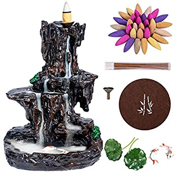 DK177 Waterfall Backflow Incense Burner Insence Cone Holder Tower Mountain River Water Fall Fountain Diffuser Mystic Smoke Large Cool Monk Back Flow Down Inscent for Incent Cones and Sticks