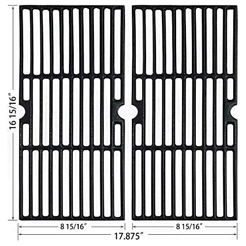 Hisencn Grill Grates Replacement for Charbroil 463250210, 463250211, 463250212, 463251413, 463251414, 466251413; Thermos 461633514, 16 15/16' Matte Coated Cast Iron Cooking Grid, G421-0008-W1 Set of 2