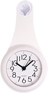 Shower Clock, Haoun Silent Bathroom Wall Clock Water Resistant Battery Operated no Ticking Noise/Small Clock with Second Hand Easy to Read (White)