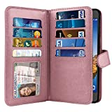 NEXTKIN Case Compatible with Samsung Galaxy S7 Active G891, Dual Wallet Folio TPU Cover, Pockets Double Flap, Multi Card Slots Snap Button Strap for Galaxy S7 Active (NOT FIT S7, S7 Edge) - Rose Gold