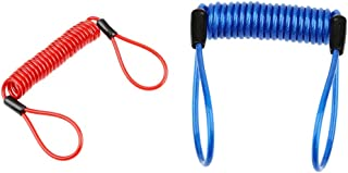 2pcs Disc Lock Cable, Security Spring Reminder Wire Coil for Motorcycle Scooter Bike Brake Discs Handlebar Theft Protection, Blue + Red