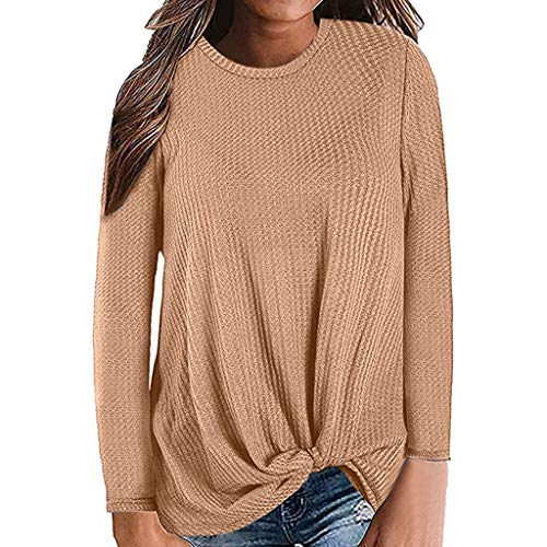 Auifor Womens Casual lange mouwen knopen wafelpatroon tuniek blouse leuke shirts tops