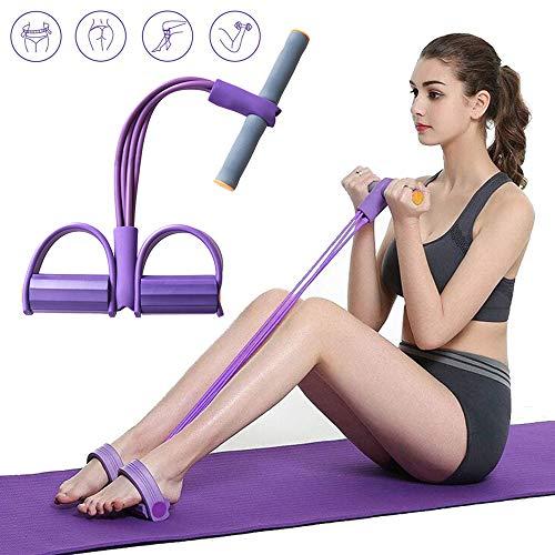 JOJYO Pedal-trainingsgerät,Sit Up Trainingsgerät mit 4 Tubes Elastische Zugseil Zugseil Bauchbein Oberschenkel Arme Muskeln Bauch(Lila)
