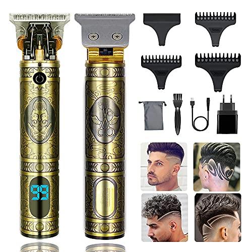 Aikufe Tagliacapelli Uomo Professionale Senza Fili Elettrico T-Blade Trimmer USB Ricaricabile Macchinetta per Barba con Schermo LED per Uso Domestico e Barbiere