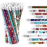 48 Pieces Christmas Pencils with Eraser Xmas Wood Pencils Holiday Pencils with Christmas Elements...