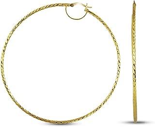 Charmsy Sterling Silver Diamond Cut Italian Design BIG Click Top Hoop Earrings for Women