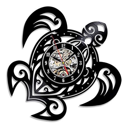 JXWH Orologio da Parete Animale Accessori Decorazione della casa Design Moderno Adesivo Tartaruga Orologio da Polso in Vinile Orologio Muto Sette Colori,con la Luce,12 Inches