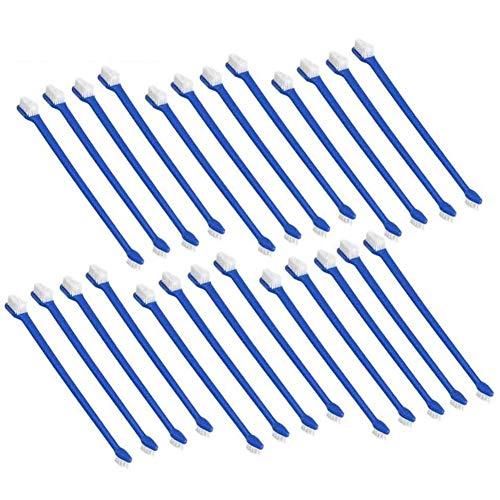 cherrypop Juego de 50 cepillos de dientes de perro para mascotas con doble cabeza conveniente cepillo dental para el cuidado dental del perro seguro