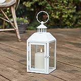 Lights4fun Weiße Metall Laterne inkl. TruGlow® Kerze mit Timer für Innen & Außen 26cm