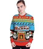 Sudadera Navidad Divertida Unisex Hombre Mujer 3D Estampado Sudaderas Navideñas Jersey Suéter Navideño Feo Sudadera Navideña Graciosa Jerséis Jerseys Navideños Cuello Redondo Parejas Ancha Larga L