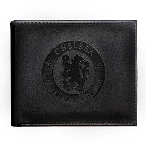 Chelsea FC - Geldbörse mit geprägtem Vereinswappen - Offizielles Merchandise - Schwarz - 11 x 9,5 cm
