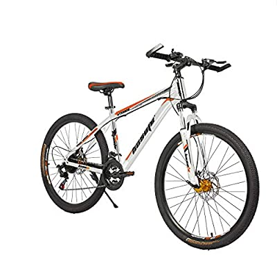 26 Inch Mountain Bikes, 21 Speed Suspension Fork MTB, High-Tensile Carbon Steel Frame Mountain Bicycle with Dual Disc Brake for Men and Women
