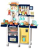 UNIH Toys Kitchen Set Pretend Kitchen Playset Toddler Kitchen Toy with Realistic Lights & Sounds,Play Oven & Sink,Coffee Toy Set,Kids Phone and Other Kitchen Accessories Blue Toys for Girls and Boys