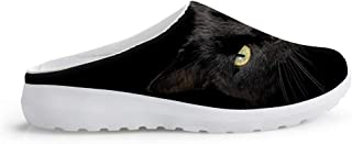 Men's Mesh Sandals Slippers Beach Shoes Non-Slip Slippers Summer Clogs Mules Unisex Casual Flat Lazy Shoes Black Cat Anima...