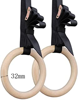 Gymnastic rings Sundried Wooden Gymnastic Rings with Straps Exercise Gym Rings Gymnastics Athletic Dip Rings (Color : 32mm)