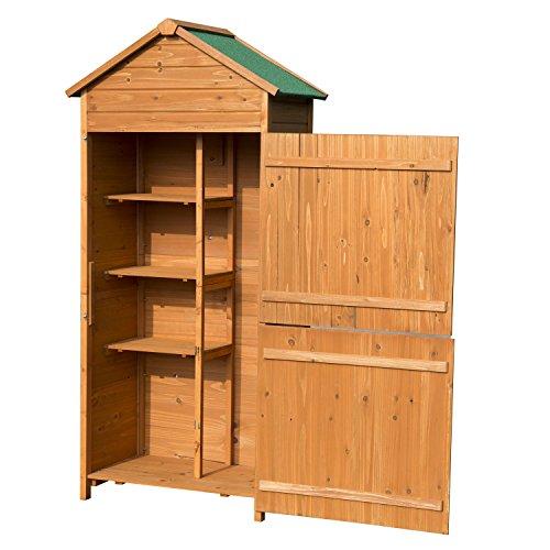 Outsunny Holz Gerätehaus Geräteschuppen Gartenschrank Geräteschrank Gartenhaus 84 x 51 x 188 cm
