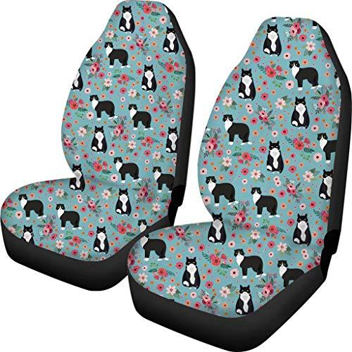 chaqlin - Funda para asiento interior de coche, transpirable, 2 unidades, para suministros de auto, silla de oficina, universal, para la mayoría de vehículos, sedán con patrón de gato animal