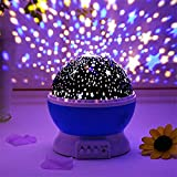 SLINGVY PVC Romantic 360 Degree Rotating Star Projector Lights Colour Changing LED Night Light Lamps for Bedroom for Kids Girls Baby Nursery (Colour As Per Availability)