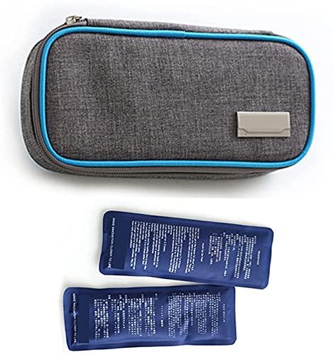 LSWY Bolso Fresco de insulina, Caja de Enfriador de Viaje médico portátil con 2 Paquetes de Hielo, Organizador diabético hasta 12 Horas de Tiempo Fresco, para insulina y Otros medicamentos, Azules