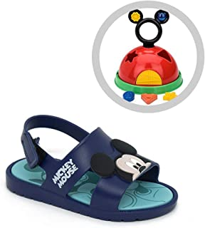 Sandália Rasteira Grendene Mickey 21996 Azul + Brinde