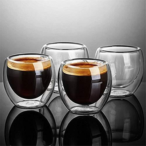 DOROCH Simplicidad Resistente al Calor Toma de Doble Pared Vino Cerveza Cerveza Espresso Café de café Conjunto de té Copa 80-450ml Vidrios de té de té Creativo (Capacity : 1pc 80ml)