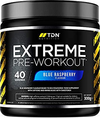Pre Workout Supplement - Extreme Pre Workout Powder - 40 Servings - UK Made Premium Preworkout Drink with Beta-Alanine, Taurine, L-Isoleucine, D-Aspartic Acid, L-Valine, Caffeine